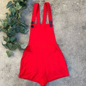Pants - American Apparel Red Short Overalls